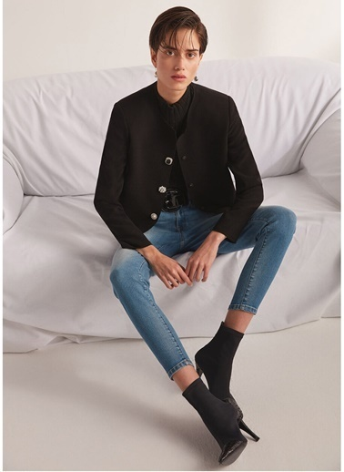Beymen Collection Normal Bel Yıkamalı Dar Paça Jean Pantolon Mavi